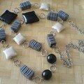 perles coussins noir et blanc