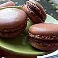 English recipe , chocolate and raspberry macaron