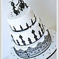 Gâteau mariage noir et blanc très original à nîmes