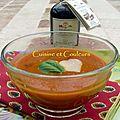 Velouté aux tomates et aubergines grillées