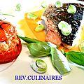 Bar rôti au poivre de sechuan vert,tomate au fenouil,sauce au citron confit et fevettes