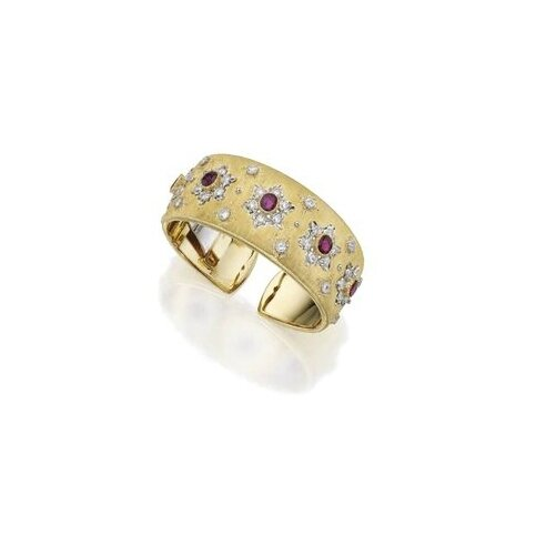 18 Karat Two-Color Gold, Ruby and Diamond Cuff-Bracelet, Buccellati