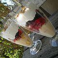 Crumble glacé aux fruits rouges, mandarine et géranium rosat