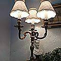 lampe bronze 3 bras patine abat-jour soie sauvage
