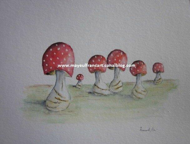 De nouvelles aquarelles de Mayeul Francart... Une série de superbes champignons...