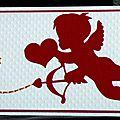 carte de félicitations porte-billet avec cupidon rouge