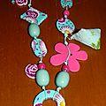 Tissu fleurs fimo collier