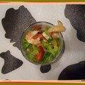 Verrine de salade folle à la crevette et maïs