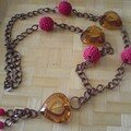 collier rose et brun