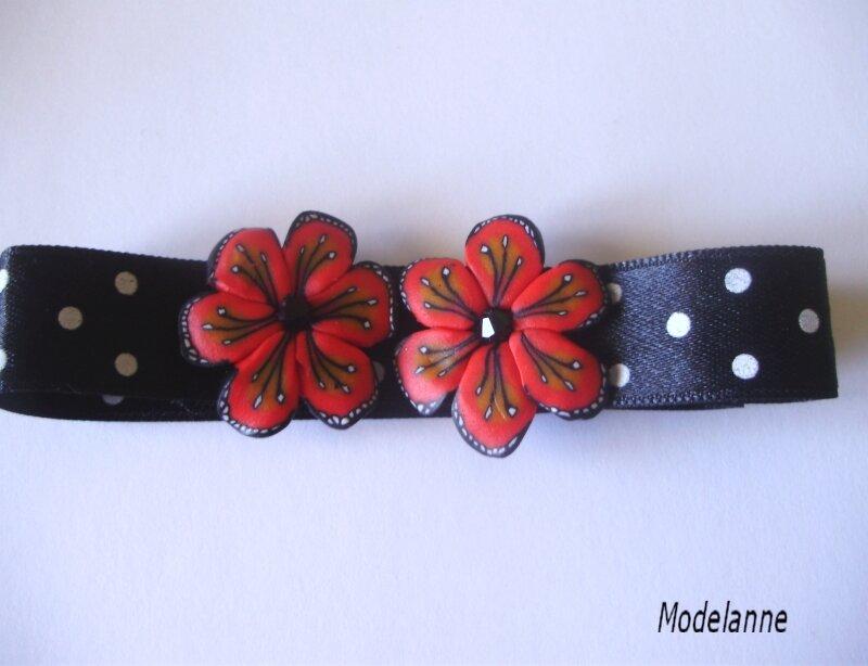 bracelet rouge pois noirslm