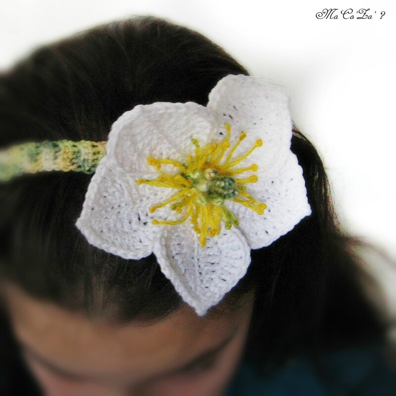 Hellébore head-band au crochet