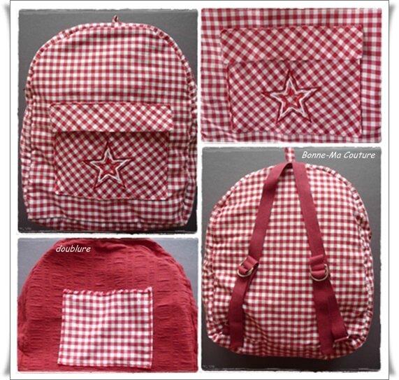 sac à dos carreaux rouge