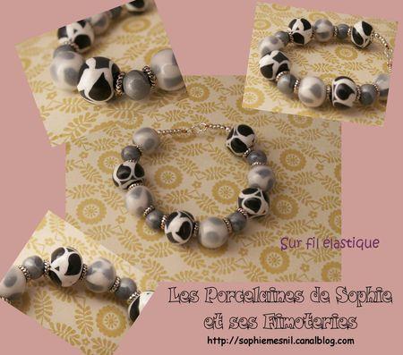 Bracelet noir blanc élastique
