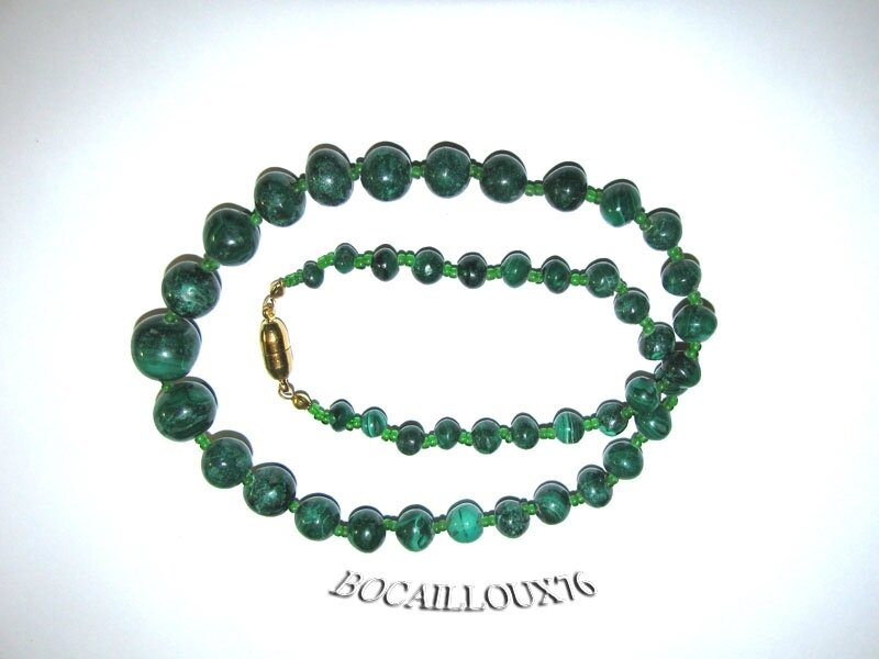 Collier MALACHITE 11 Perles (3)