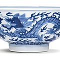 A blue and white 'Fu Shu' 'Dragon' bowl, seal mark and period of Qianlong (1736-1795)