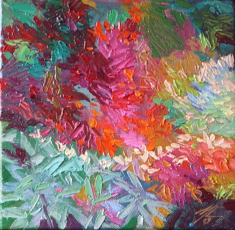2009-Fouillis végétal 3,huile,20x20cm