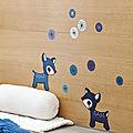 Sticker Chambre bébé - Faon bleus - Annelore Parot - Poissonbull