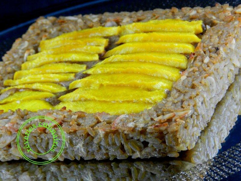 tarte riz au lait végétal à la mangue