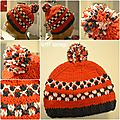 Le bonnet orange flashi de calvin