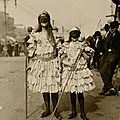 Children wearing Mardi Gras costumes in New Orleans, Louisiana