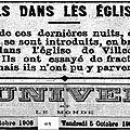 Mercredi 03 octobre 1906 : cambriolage à l'église