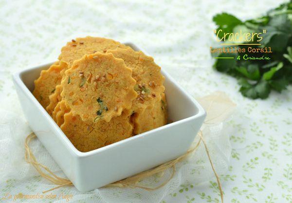 crackers lentilles corail végétal coriandre