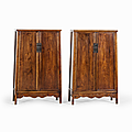 Pair of large huanghuali cabinets, china, 17th century