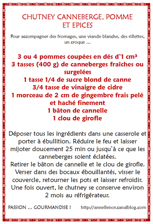 Chutney canneberge, pomme, épices_fiche