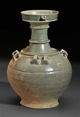 A Yue-type stoneware jar, China, Six Dynasties period, 6th century AD