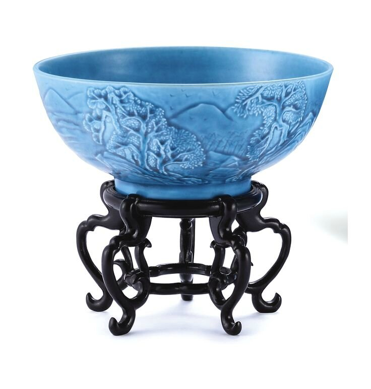 A carved turquoise-glazed bowl, Incised four-character mark and period of Guangxu