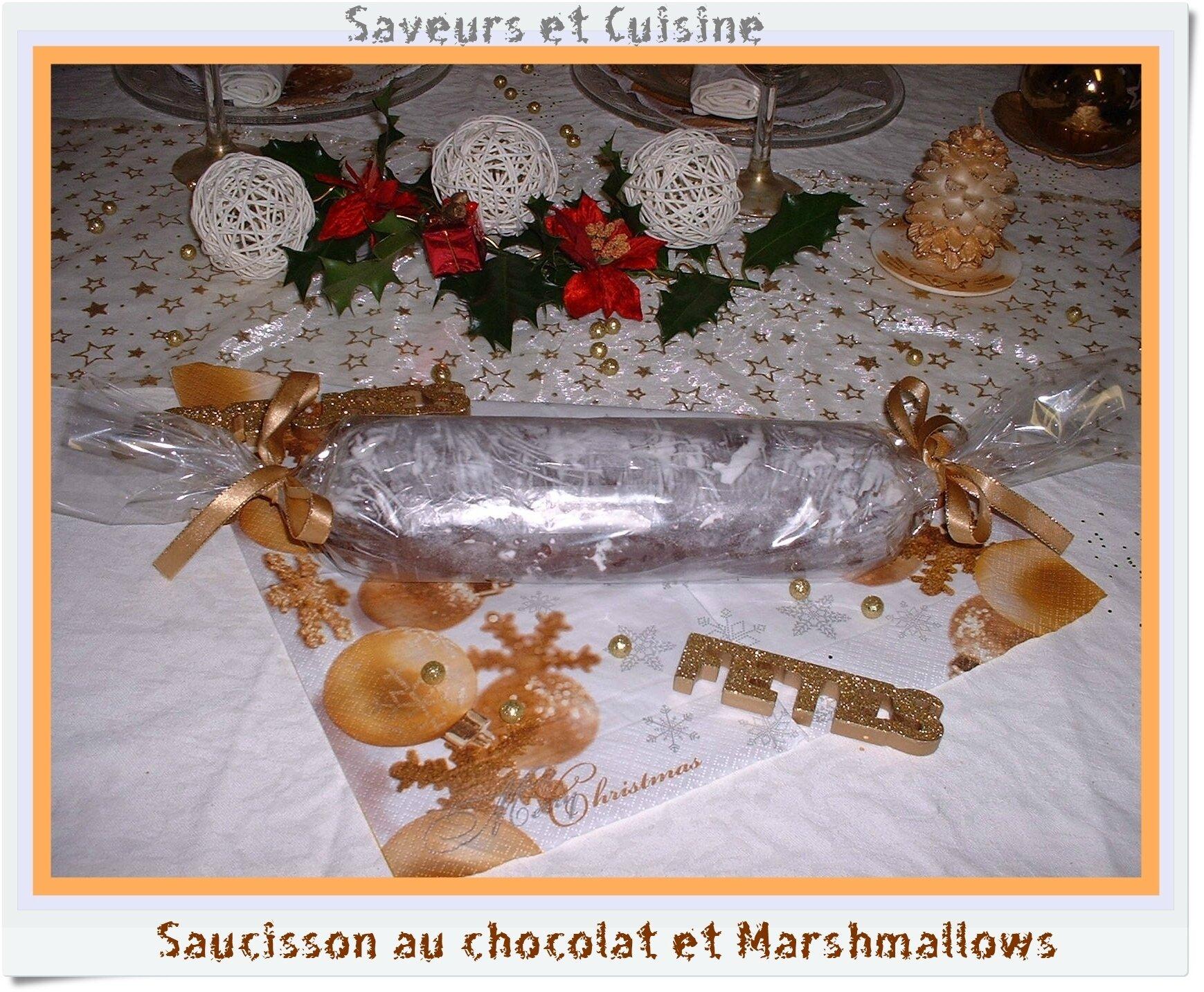 Saucisson au chocolat et marshmallows ... pour cadeau gourmand
