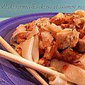 Sauté de vermicelles de riz et poisson mariné