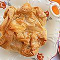 Tourte en pâte à filo, pruneaux/pommes/pâte d'amande