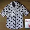 Abbey Dawn Polka-Dot Poplin Shirt