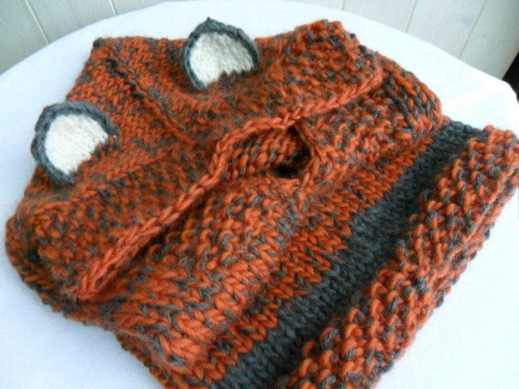 modèle tricot echarpe a capuche