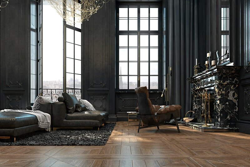 Abandoned-castle-living-room-marble-fireplace-high-French-windows-fleur-de-lis-detail