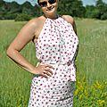 Robe d'été dos nu en liberty rosa
