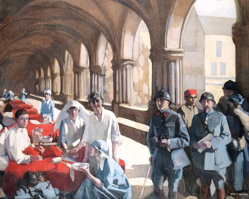 Neilson Gray, Norah, The Scottish Women's Hospital-In The Cloister of the Abbaye at Royaumont, Dr Frances Ivens inspecting a French patient