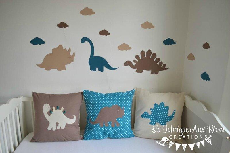 stickers dinosaure pétrole canard beige camel - décoration chambre bébé dinosaure pétrole canard camel marron beige