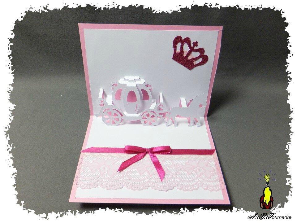 Carte kirigami pop up un carrosse pour l 39 anniversaire d 39 une princes - Carrosse de princesse ...