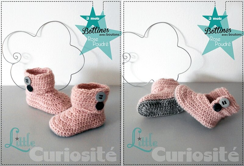 Chaussons Fait-main au Crochet - Bottines à boutons Rose poudré - Cadeaux de Naissance 3 mois - Made in France (3)