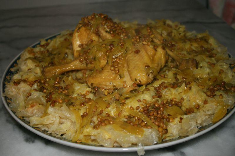 Rfissa au poulet, tfaya et oeufs de caille