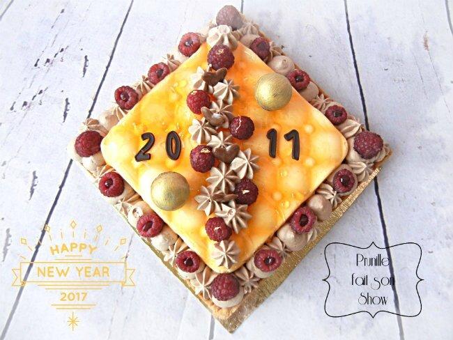 Meilleurs voeux pour 2017 - Et si on commençait par un bel entremet {mangue/framboise/chocolat au lait }