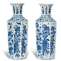 A pair of blue and white octagonal vases, Kangxi period (1662-1722)