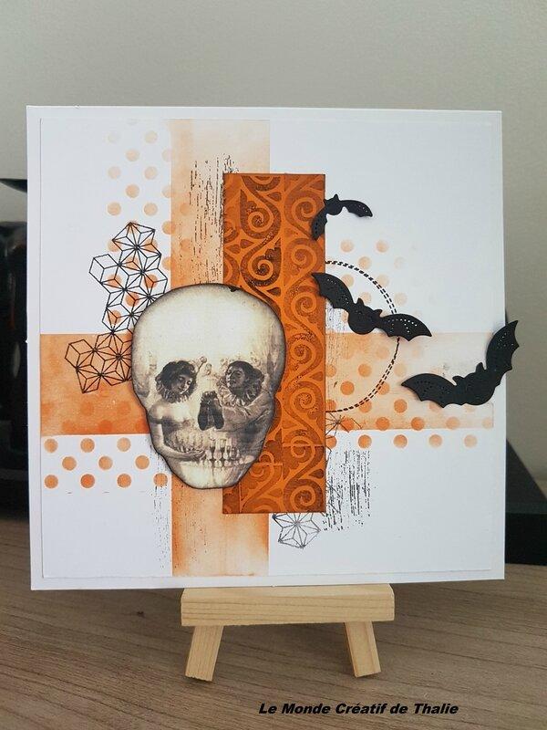 Carte Halloween Crâne + encre memento Oct 17