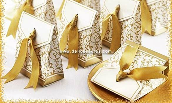accessoire mariage contenant dragee boite ruban or ribbon - Gateau Dragee Mariage