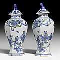 Pair of lidded vases, delft, 2nd half of the 18th century