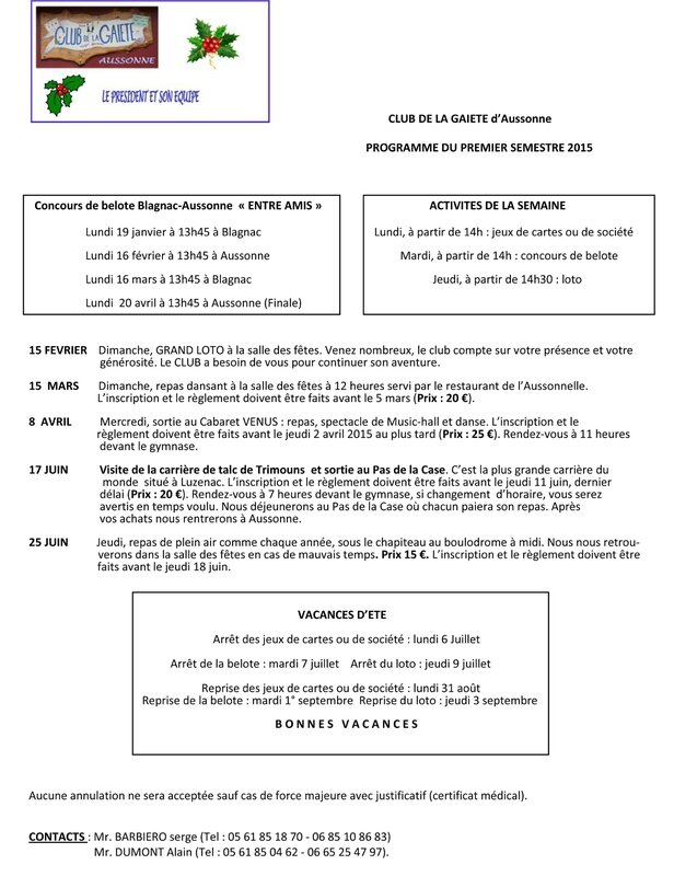 Programme du premier semestre 2015-1