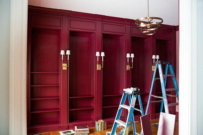 The-Makerista-Library-Front-Room-Radicchio-Leaf-Sherwin-Williams-Built-Ins-Library-Ladder-Sconces-Rejuvenation-Chandelier-West-Elm-IMG_2248