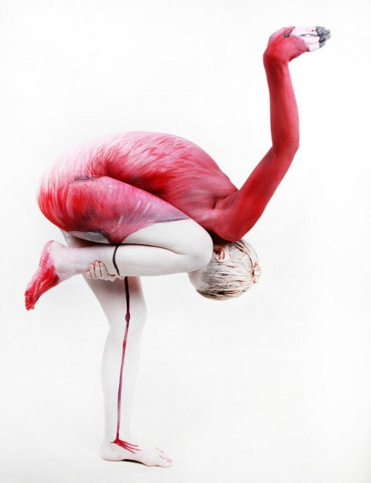 Gesine-Marwedel-flammand-rose-body-painting-animaux
